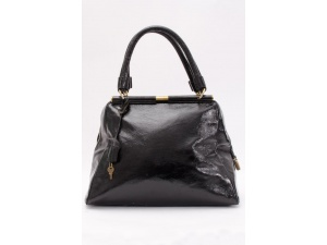 be70a5c0209 YVES SAINT LAURENT YSL 2008 Majorelle Black Textured Patent Leather ...