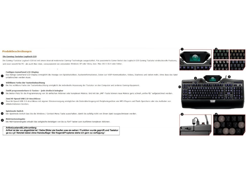 logitech g19 gaming keyboard tastatur hotkeys zum. Black Bedroom Furniture Sets. Home Design Ideas