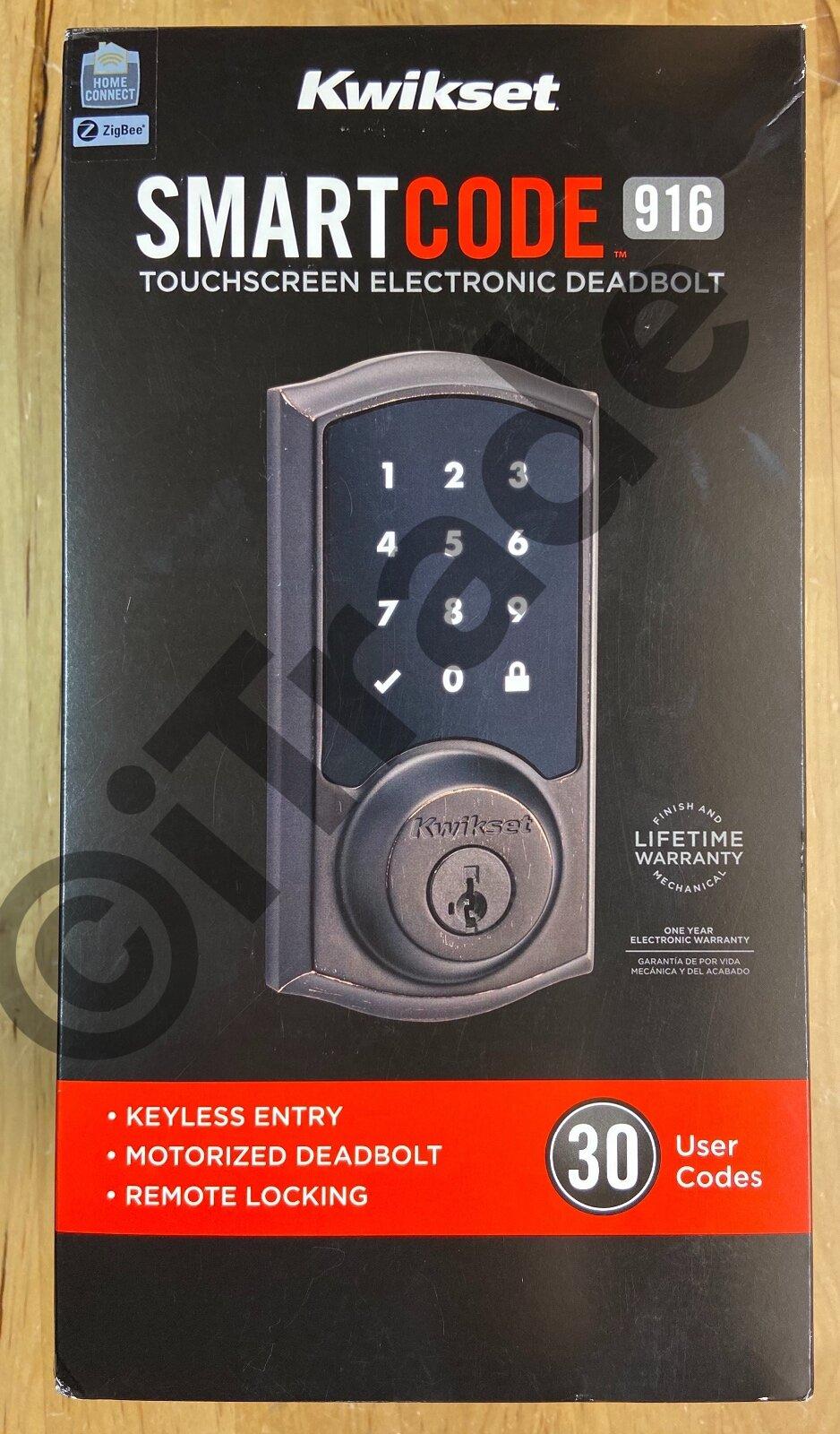 Kwikset SmartCode Deadbolt Smart Lock Venetian Bronze 98880-002 Vivint