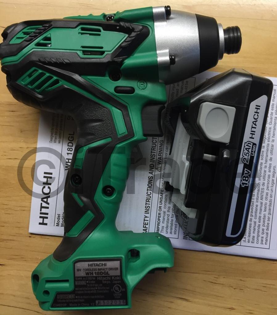 hitachi wh18dgl 18v 1 4in impact driver 2 5ah li battery bsl1825 rh ebay com Hitachi Cordless Nail Gun Hitachi Cordless Nailers